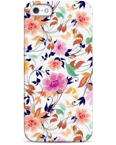 Цветочный принт на белом фоне - iPhone 5 / 5S / 5C Дизайнерские чехлы для iPhone