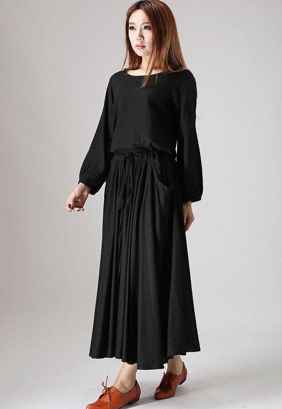 Black dress woman maxi linen dress long sleeve dress by xiaolizi