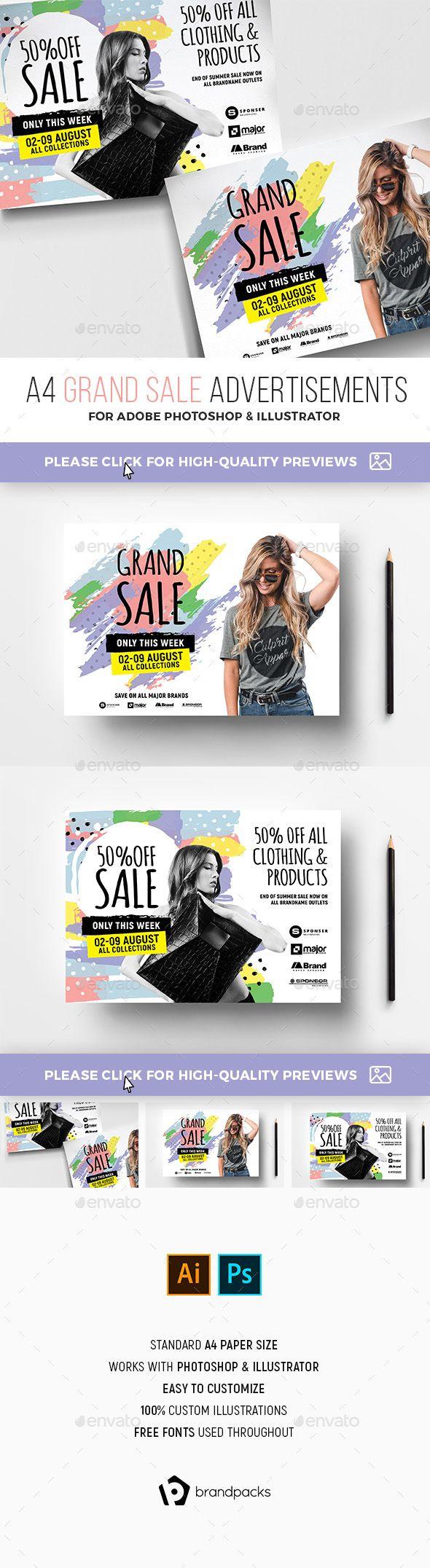 Grand Sale Advertisement Templates PSD, AI