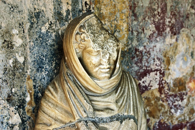 T-3 months til we're here! Broken figure in Old Pompeii.