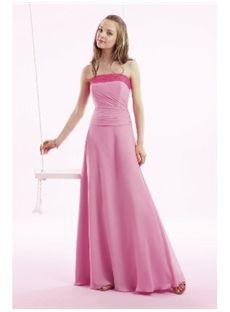 Charming A Line Strapless Floor Length Bridesmaid Dress