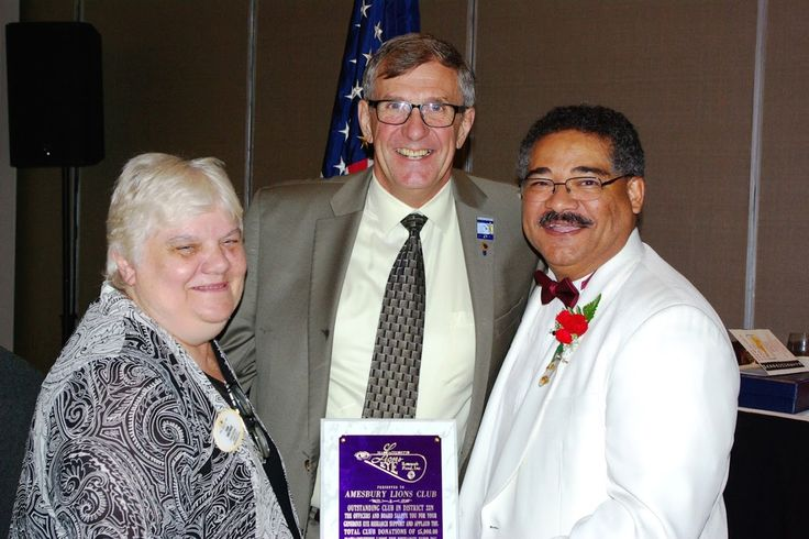 Photo in 2016-08-06 MA Lions Eye Reseach Fund Dist 33N DG Joan Parcewski and Martin Middleton - outgoing president of MLERF - present award to Amesbury Lions Club