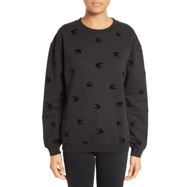 Women's Mcq Alexander Mcqueen Swallow Classic Sweatshirt (1,220 SAR) ❤ liked on Polyvore featuring tops, hoodies, sweatshirts, darkest black, fleece sweatshirt, fleece tops and mcq by alexander mcqueen