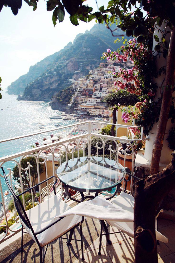 Eating meals on the terrace was a great way to start off the day in Positano, Italy