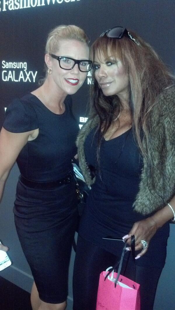 Star studded Tracy Bingham and bud Cheryle strutting through in Fendi after Betsy Johnson #betstyjohnson #mbfw #tracybingham #fendi #dresses @Digishon.com