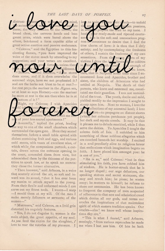 dictionary art love quote vintage I LOVE YOU Now Until ...