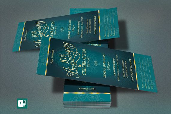 "Teal Church Anniversary Publisher Ticket Template is for any anniversary event that needs an vintage theme. Great for Banquets, Galas, Luncheons and Tea Parties. Created with elegant colors and highlighted with gold. This template is a Microsoft Publisher 2010 template designed by Godserv to be edited with Microsoft Publisher 7 and higher. Once you have downloaded this template, use Microsoft Publisher 7 or higher to make edits to this template.  WHAT'S INCLUDED - 1– 3""x7"" Teal Church…"