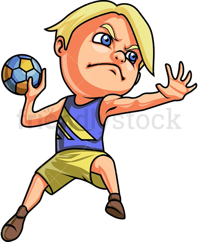 Little Boy Playing Handball Cartoon Clipart Vector Friendlystock Handball Cartoon Clip Art Boys Playing