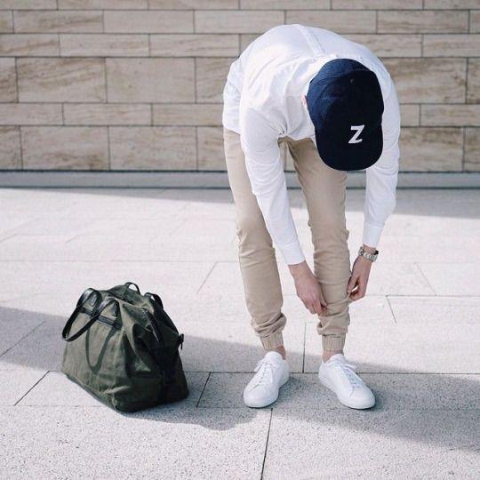 Men Khaki Slim Fit Jogger Pants with white shirt sunshine look