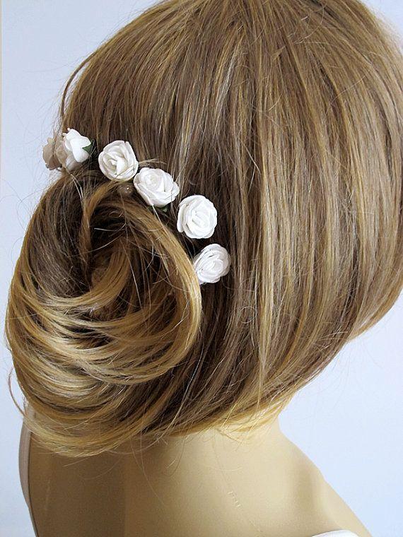 White Rose Wedding Hair Pins  wedding accessory Hair by selenayy
