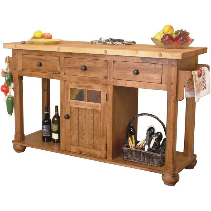 sunny designs sedona kitchen island table with solid birch butcher block top natural slates and bun feet in rustic oak