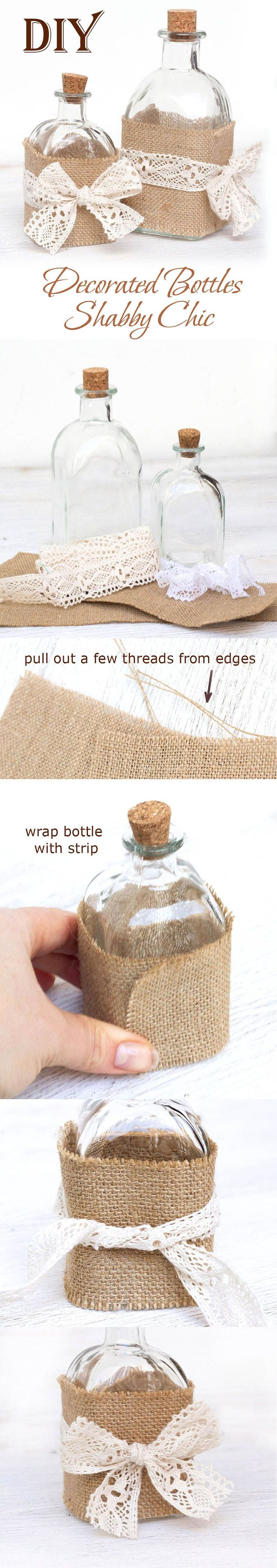 Decorate bottle in shabby chic DIY(Easy Burlap and Lace Craft)!