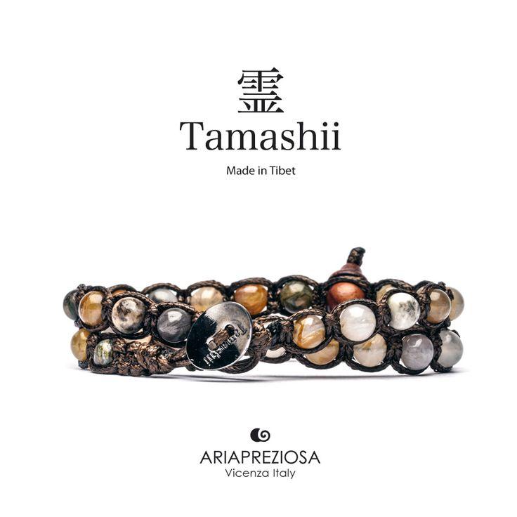 Tamashii - Bracciale Lungo Tradizionale Tibetano 2 giri Agata Crazy Cracked