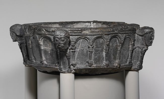 Baptismal Font, ca. 1155–1170 From the Monastery of Saint-Trond, Wellen; Made in Liège, South Netherlands Dark calciferous limestone
