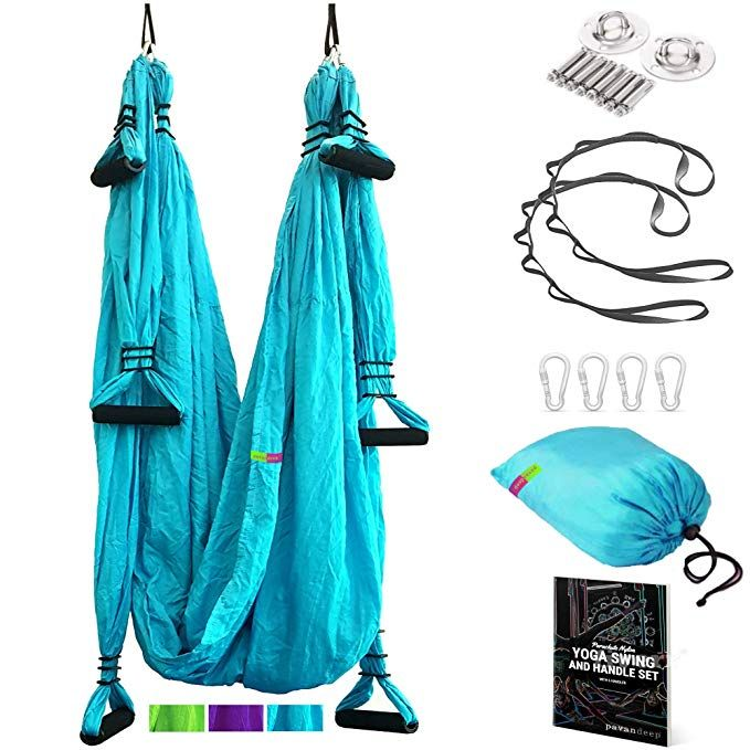 Pavandeep Yoga Swing Aerial Yoga Hammock or Trapeze with Ceiling Mount