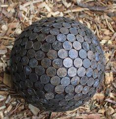 Penny Ball for the garden. Pennies in the garden repel slugs and make hydrangeas…