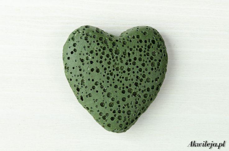 Volcanic lava beads heart