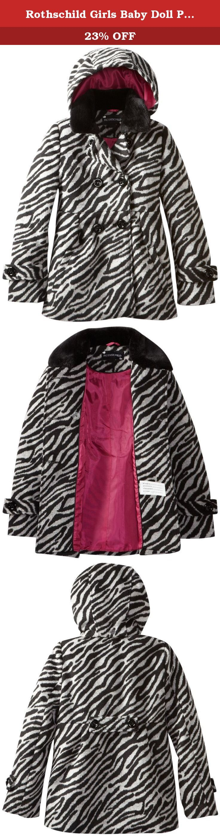Rothschild Girls Baby Doll Peacoat Jacket with Faux Fur Collar - Tonal Zebra (Size 6X). This dress pea jacket for girls are the perfect outerwear for winter. Jacket features is fully lined and featues beautiful tonal Zebra design, double-breasted button front closure, detachable hood, 2 side entry pockets and buttoned tab on sleeve and on back.