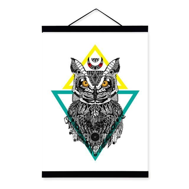 Owl Graphic Ancient Indian Animal Black White A4 Wooden Framed Canvas Painting Wall Art Prints Pictures Poster Hanger Home Decor
