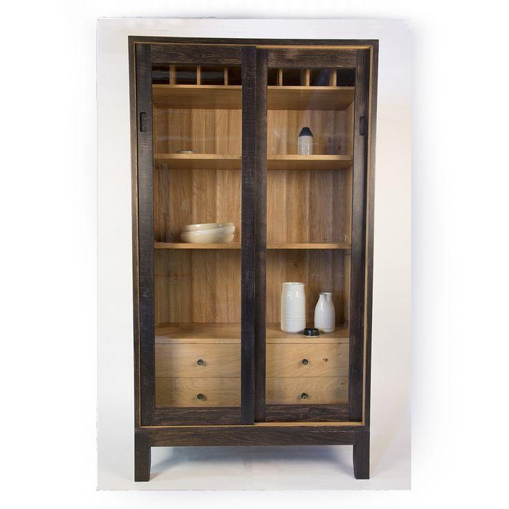 3823 Arbor Oak: Ebonised Oak Display Cabinet, Arbor Furniture.