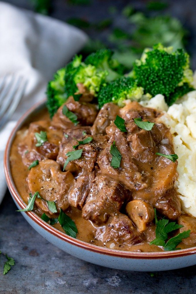 Slow Cooked Steak Diane Casserole - a great make-ahead meal, just thing if you're feeding a crowd! Cook in the oven, on the hob or in the slow cooker.