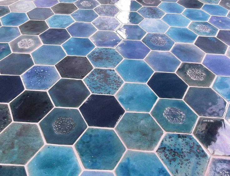 artkafle-kafle sześciokątne w wersji blue