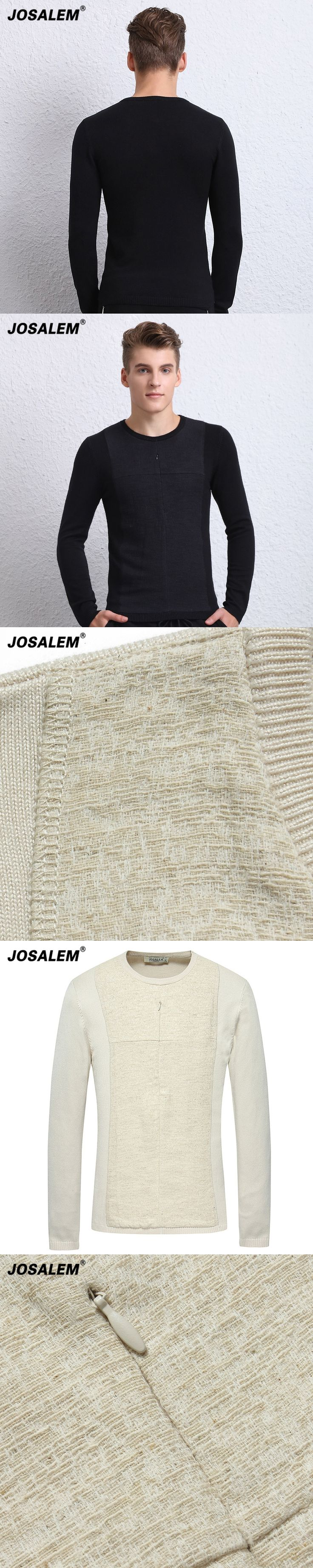 JOSALEM Fashion Solid Cotton Patchwork Men Sweater 2017 Autumn New O-neck Black Knitwear Mens Jumpers Male Knitted Pollover