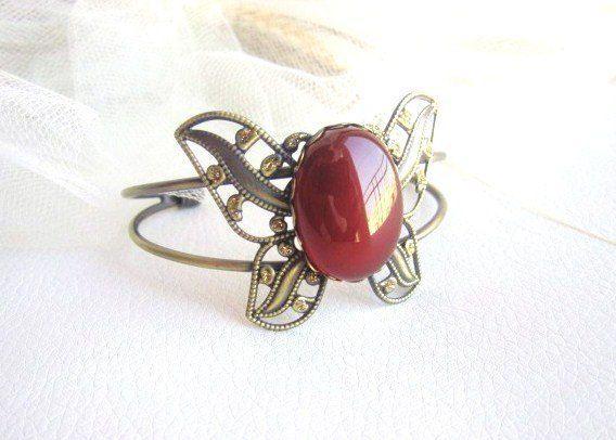 Vintage Carnelian Cuff Bracelet Antique by MalinaCapricciosa, $28.00