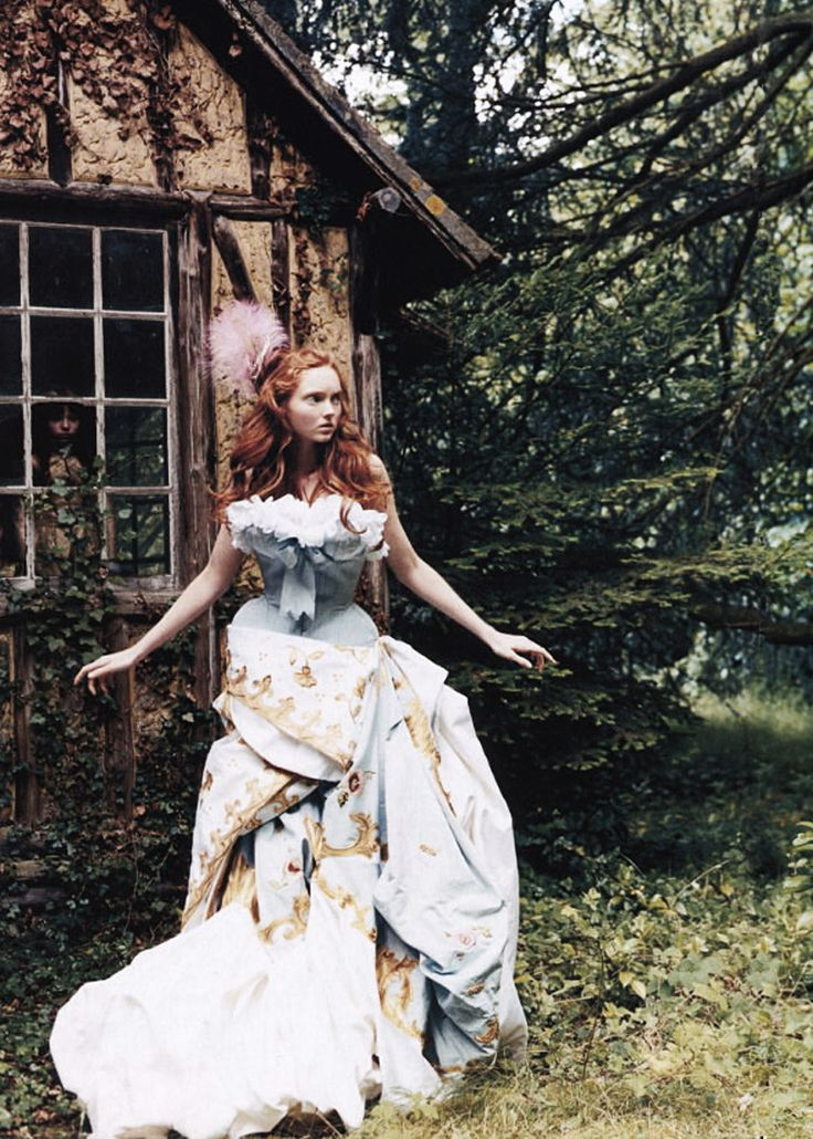 Lily Cole in Christian Dior Haute Couture, by Arthur Elgort. British Vogue 2004.