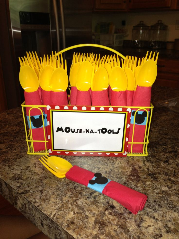 Mickey Mouse Birthday Party Cutlery by InspiredLilParties on Etsy https://www.etsy.com/listing/200941267/mickey-mouse-birthday-party-cutlery