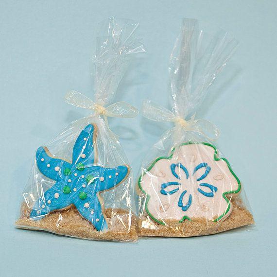 Starfish Beach Theme Wedding Cookie Favors by PastryTartBakery, $37.50