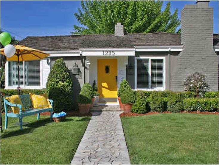Yellow door grey house around the house pinterest for Front door yellow house