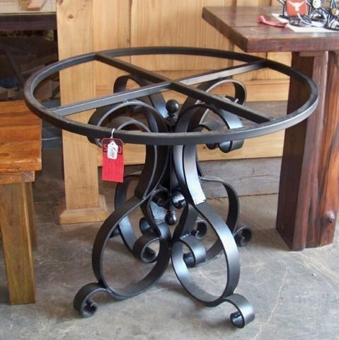 Wrought Iron Dining Table Base - Heavy Flat Iron Pedestal Table Base w/ Scrolls, Black