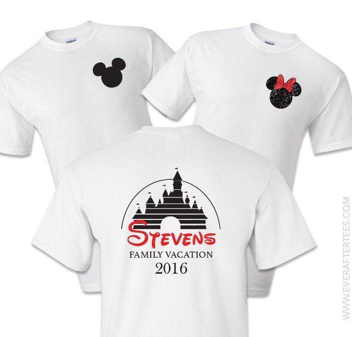 Disney Family Vacation Chest Logo Tees