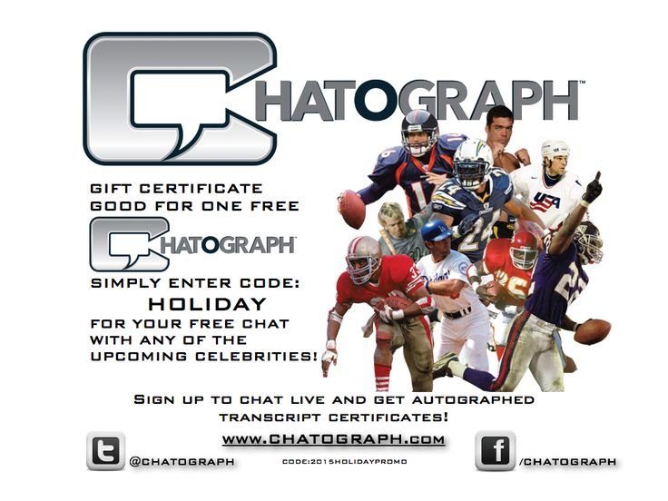 Give the ultimate #gift to your #sports #fan.  A one-on-one #CHATOGRAPH #athlete chat & #autograph  #nfl #giftcertificate #patriots #cowboys #raiders #eagles #lions #tigers #ncaa #bears #rams #packers #bengals #panthers #saints #clemson #oklahoma #tombrady #lebronjames #stephcurry #aaronrogers #adrianpeterson #ufc #mlb #nhl #messi #soccer #jamesharden #memorabilia #celebrity #chat #heisman #halloffame #celebrities #awesome #amazing #funny #present #christmas #holiday #free #socialmedia…