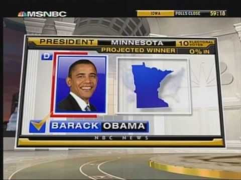 Video from 2008 election to show the students how the electoral votes add up