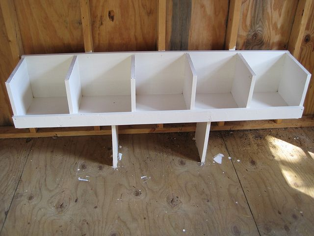 DIY Chicken Coop Nesting Boxes: Tip- maks the boxes large enough to fit a tupperware dish tub in. Easy to remove and clean!
