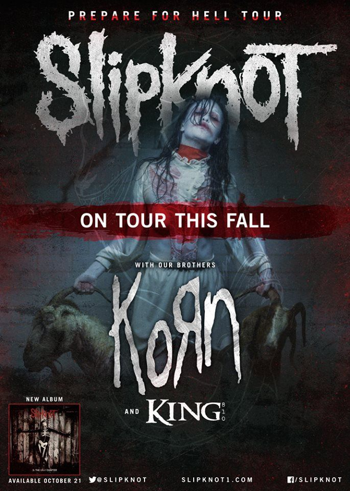 """NEWS: The metal band, Slipknot, have announced the """"Prepare For Hell Tour"""" with Korn and King 810. The tour will be in support of their upcoming album, 5: The Gray Chapter. You can check out the dates and details at http://digtb.us/1wuTWlL"""
