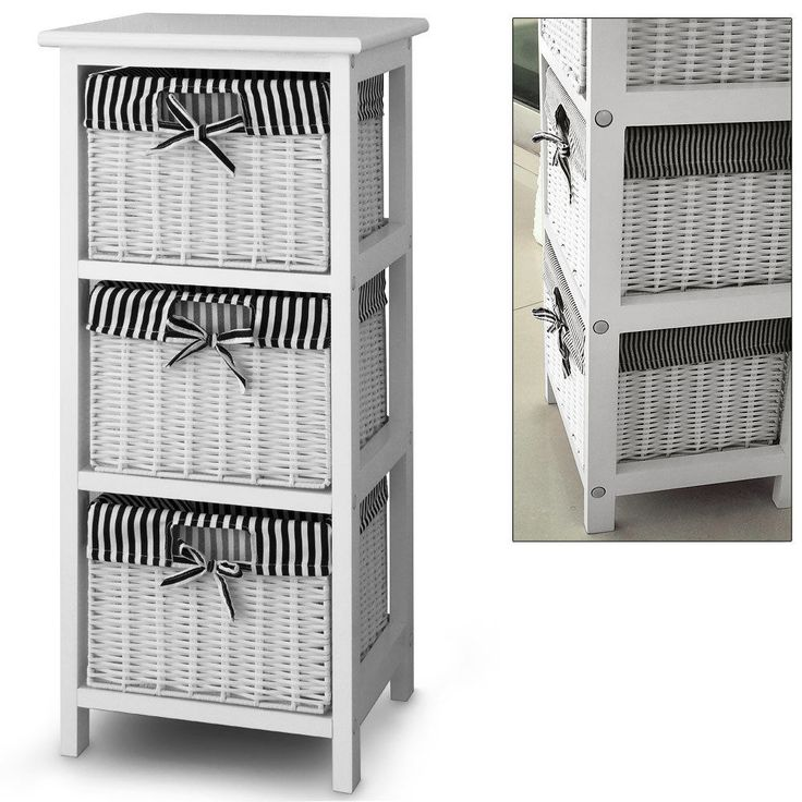 3 Drawer Storage Cabinet With 3 Baskets Shelf Storage Unit Wicker Baskets Mix Wood And