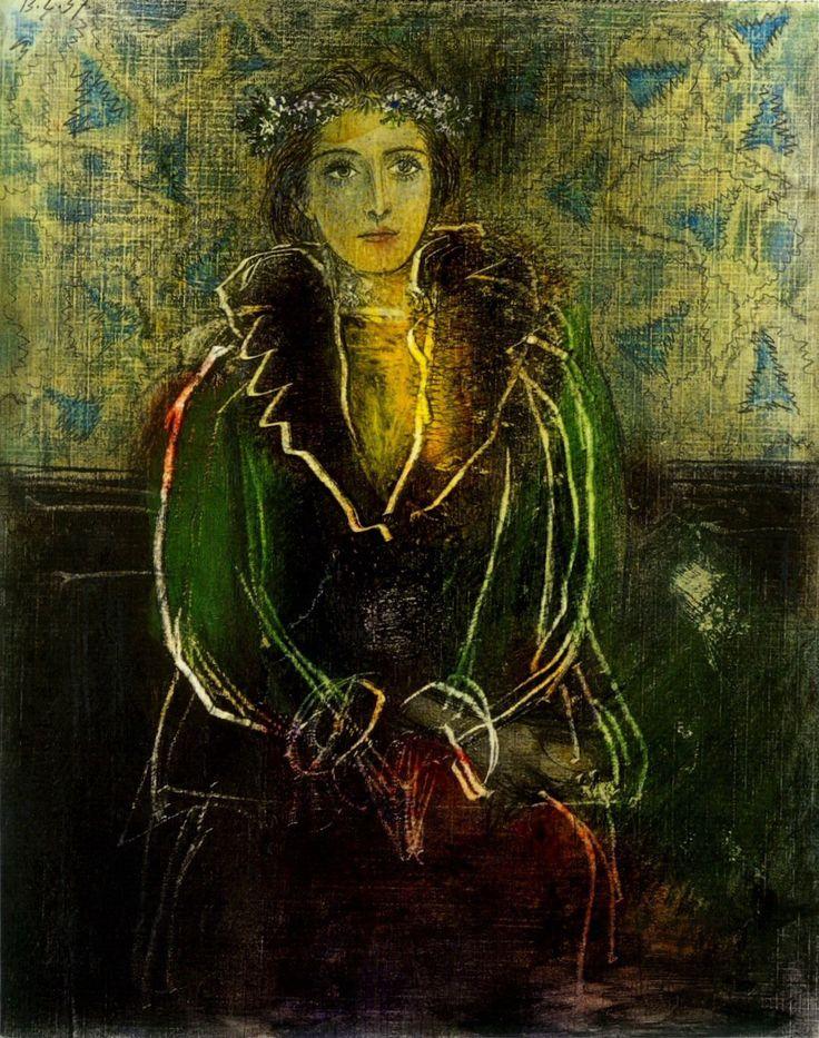 Pablo Picasso (espanhol: 1881-1973), Retrato de Dora Maar com uma coroa de flores, 1937. Desenho a lápis, pastel e arranhando, 29 x 23,5 cm