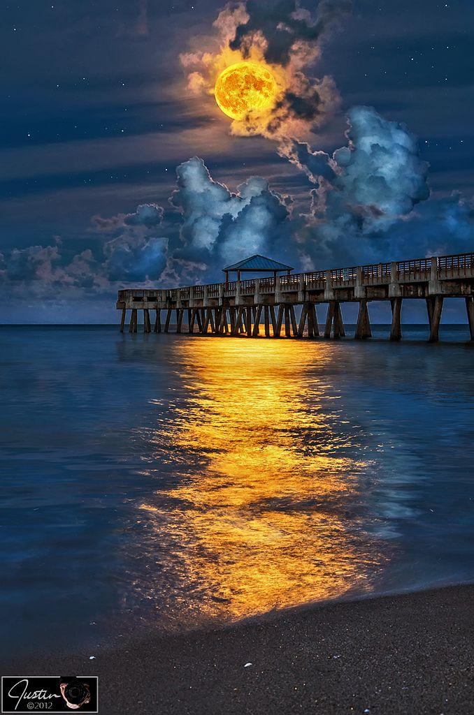 Full Harvest Moon over Juno Beach Pier   by HDRcustoms.com