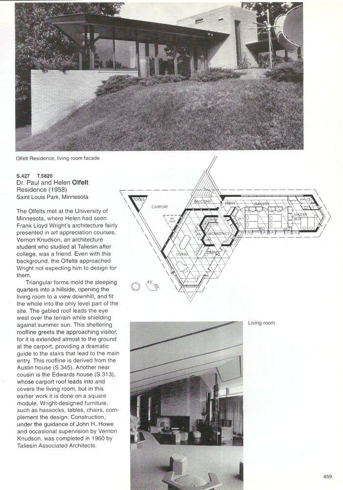 Paul Olfelt house. 195860. St. Louis Park, MN. Usonian