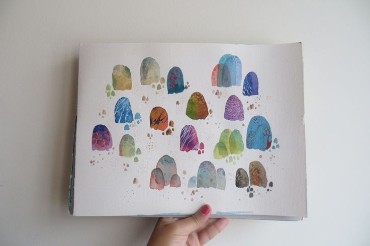 Eliblue Ilustración & diseño #watercolor #acuarelas #estudio #study #textures #texturas #stones #piedras #bogotá #eliblue