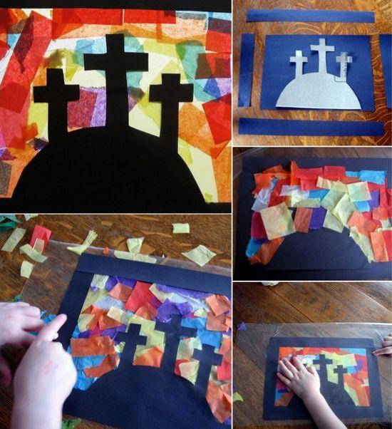 como hacer un Vitral de Pascua para niños