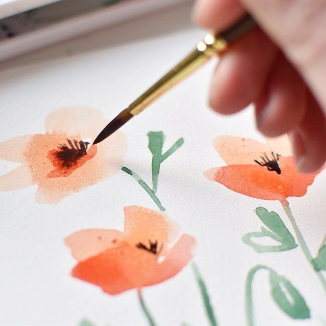 Tutorial Watercolor Poppies Notebook I Still Love You By