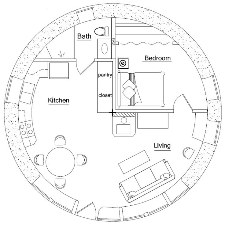 Earthbag/Geodesic Dome (click to enlarge) Floor plan for the Smurf house