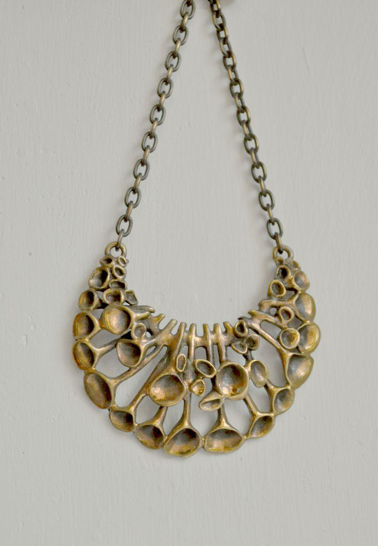 Hannu Ikonen Bronze c. 1960s Reindeer Moss Bib Necklace   brutalist jewellery