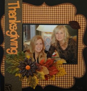 Holiday Scrapbook Page idea with Thanksgiving title from Lyrical Letters cartridge - from Everyday Life Album 14
