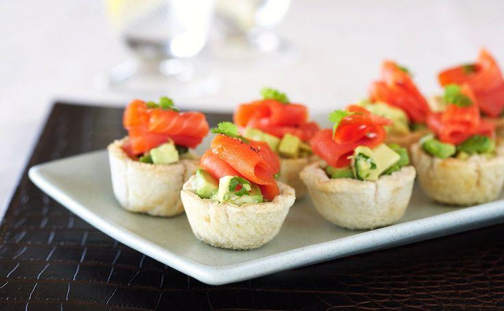 Regal Artisan Salmon Tartlets with Avocado Salsa  http://www.regalsalmon.co.nz/recipes/regal-artisan-salmon-tartlets-with-avacado-salsa