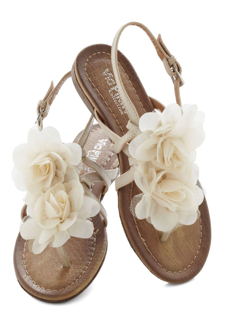 Day by Daydream Sandal - Tan, Flower, Fairytale, Summer, Flat, Solid, Daytime Party, Spring